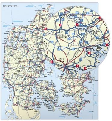 cykelkort danmark stor