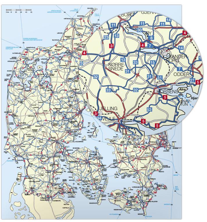 Nyt Cykelkort Over Danmark Fra Nordisk Korthandel Cykelportalen
