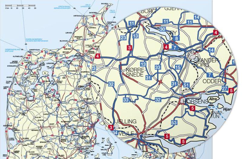 Nyt cykelkort over Danmark fra Nordisk Korthandel